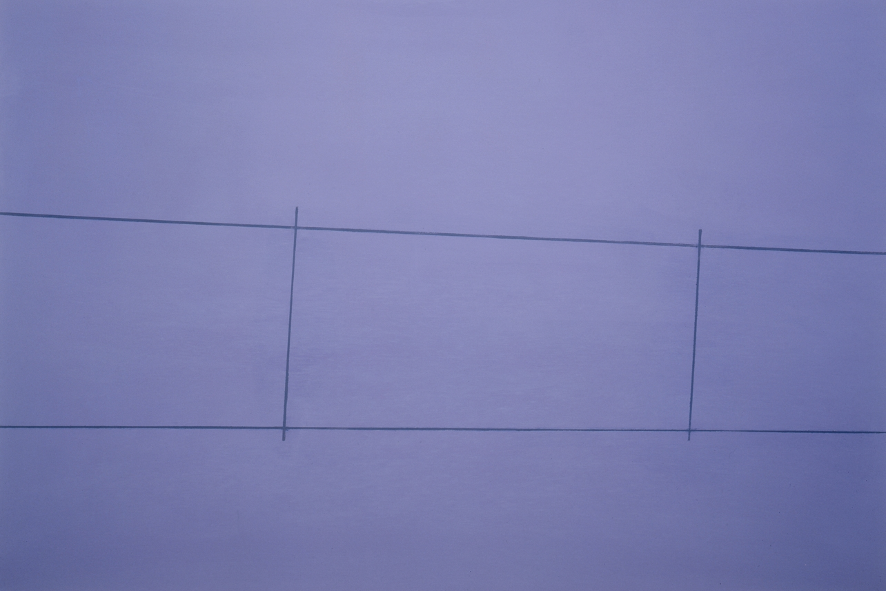 Fence , Purple 2 Posts,oil on canvas,32 x 48 inches