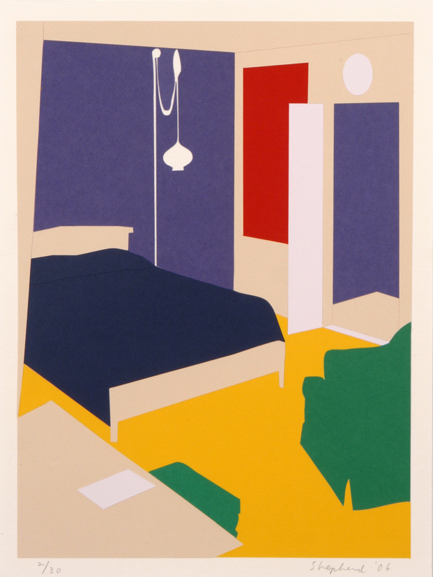 Paper Bedroom , cut paper collage, 13 3/4 x 10 1/4 inches, Artists Space, edition of 30