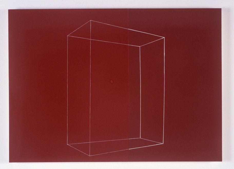 Box faces right, heavy line on darker of two reds ,oil on panels,23 x 32 inches