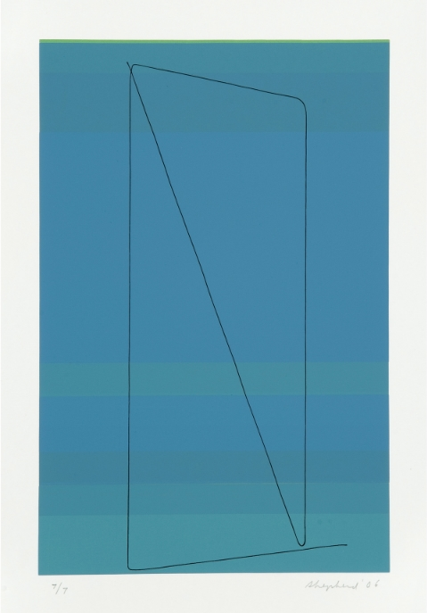 Wire, Land View on Soft Blue  screenprint, 20.6 x 14.3 inches Galerie Lelong Paris, edition of 9