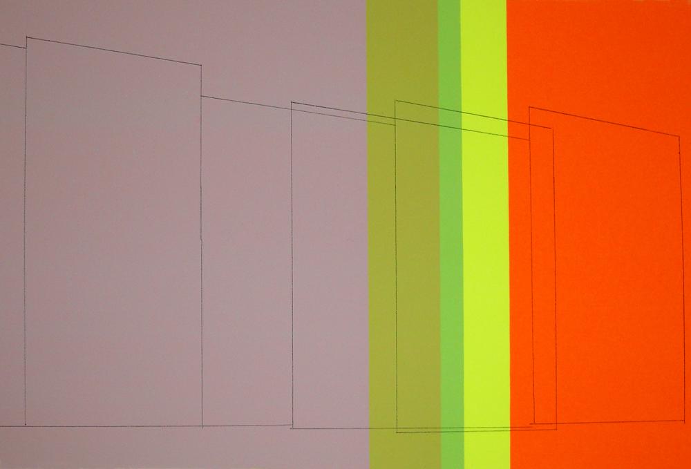 Tall Walls, Some Transparent, Montresor Colors, graphite transfer on screenprint