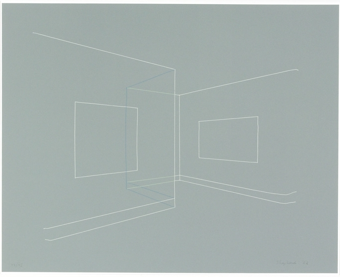 Kate Shepherd, Floating Image, Transparent Walls, Thread Lines on Grey, screenprint, 2002, 18 3:4 x 22 3:4 inches, Pace Prints, edition of 45.jpg