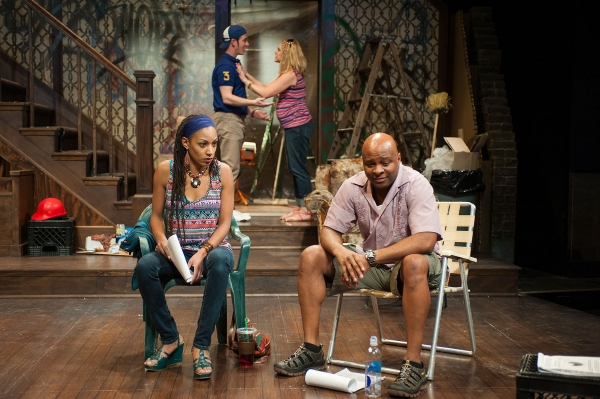 """Marti Gobel and James T. Alfred (foreground) and Greta Wohlrabe and Gerard Neugent (background) in Milwaukee Rep's """"Clybourne Park""""."""