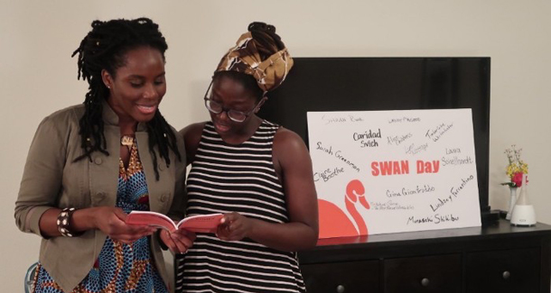 Sara Osi Scott (left) and Sarah Nansubuga (right) at SWAN Day Baton Rouge
