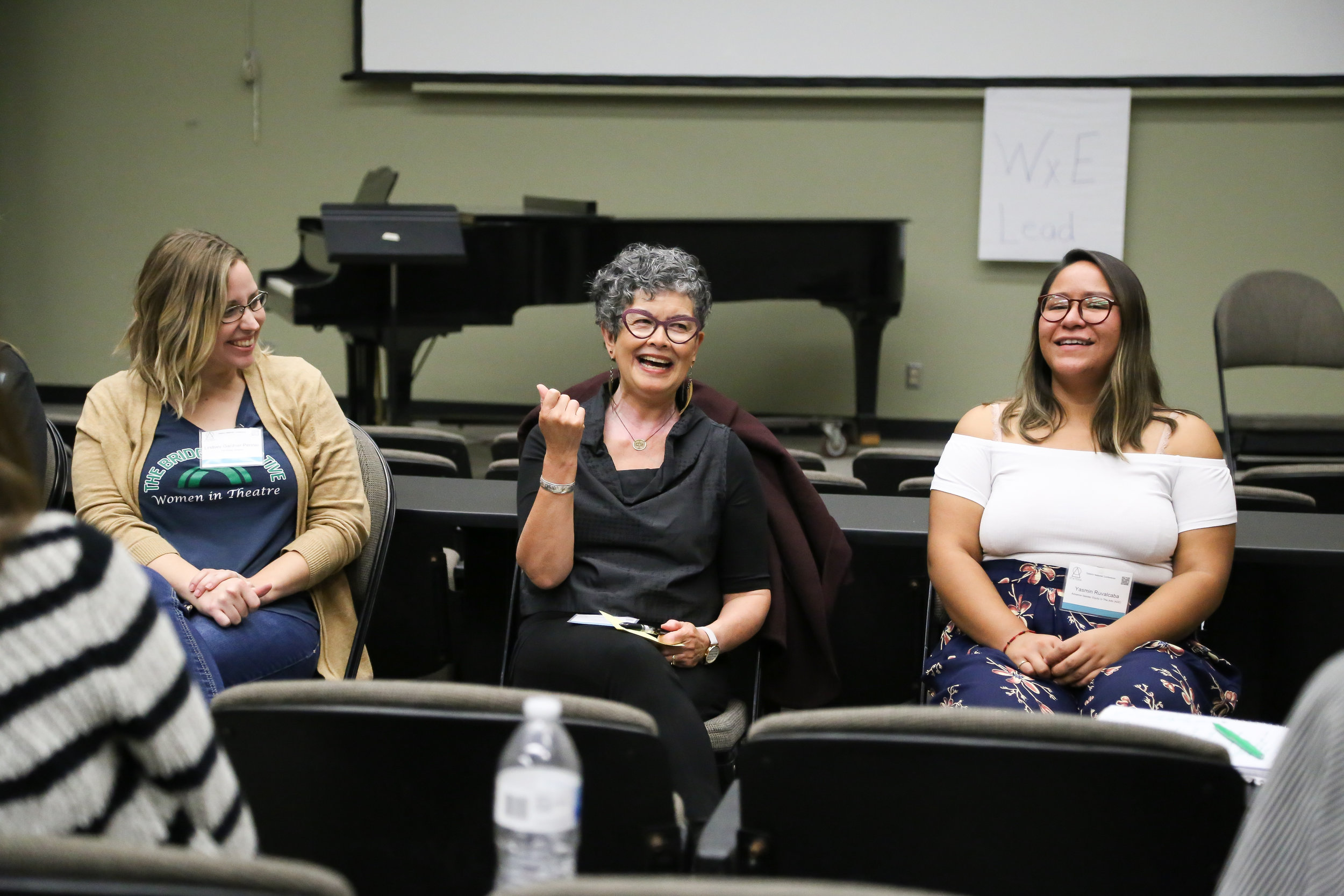 "Lindsey Gardner-Penner  (left),  Jane Vogel  (middle), and  Yasmin Ruvalcaba  from Advance Gender Equity in the Arts, ""2020 Call To Action: What's On Your Calendar?"""