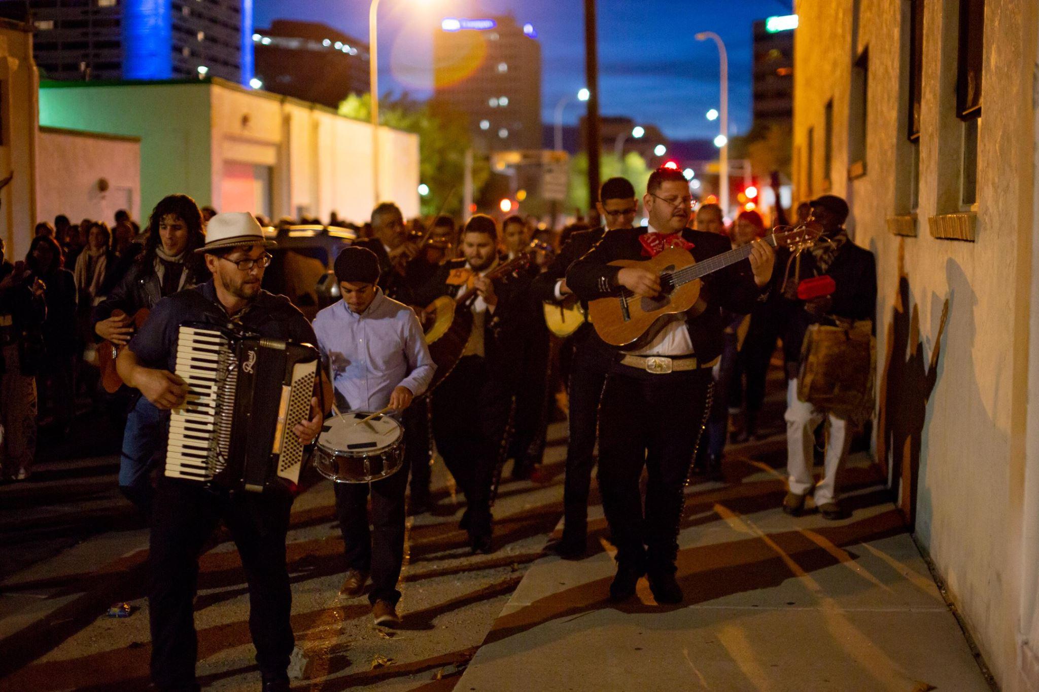 Closing night procession through the streets of Albuquerque.