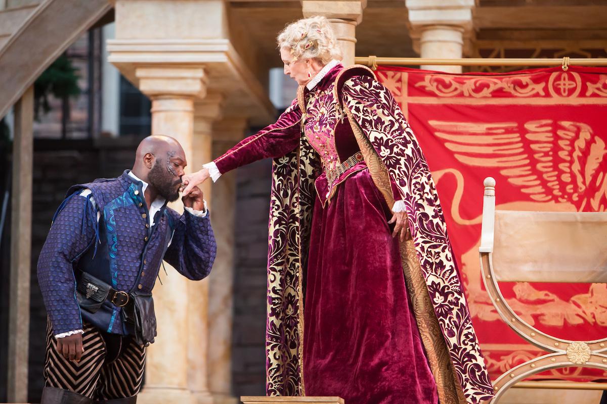 Othello : Peter Macon as Othello, Anne Sandoe as the Duchess of Venice. (Photo credit Jennifer Koskinen)