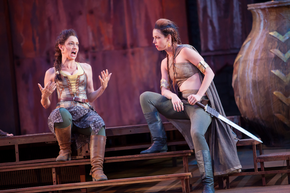 Troilus and Cressida:  Mare Trevathan as Ulysses, Kelsey Didion as Agamemnon. (Photo credit Jennifer Koskinen)