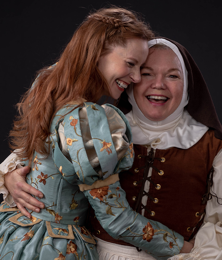 "Emily Trask and Kitty Balay in ""Shakespeare in Love"" at PCPA. (Photo by Luis Escobar)"