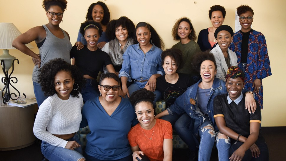 "The Black is Beautiful Project ""12 Angry Men"" team: Gabrielle Reid, Kimber Sprawl, Tiffany Evariste, Ashley Alexandra Seldon, Ashley Blanchet, Alex Hairston, Bahiyah Hibah, TyNia Brandon, LaQuet Sharnell Pringle, Housso Semon, Salisha Thomas, Gabrielle Elisabeth, Schele Williams, and Jasmin Walker (Photo by Julia Johanos)"
