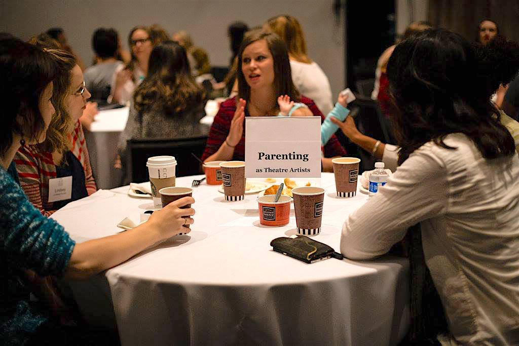 A round table discussion for parent theatre artists at Statera's National Conference in Denver in 2016. Photo by Malloree Delayne Hill