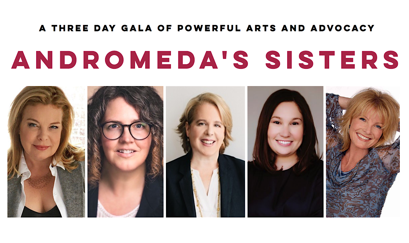 Featured speakers at Andromeda's Sisters: (from left to right) Cathrine Curtin (Orange is the New Black), Sarah Greenman (StateraArts), Roberta Kaplan (renowned litigator), Amy Spitalnick (ED at Integrity First for America), and Ellen Dolan (As the World Turns).