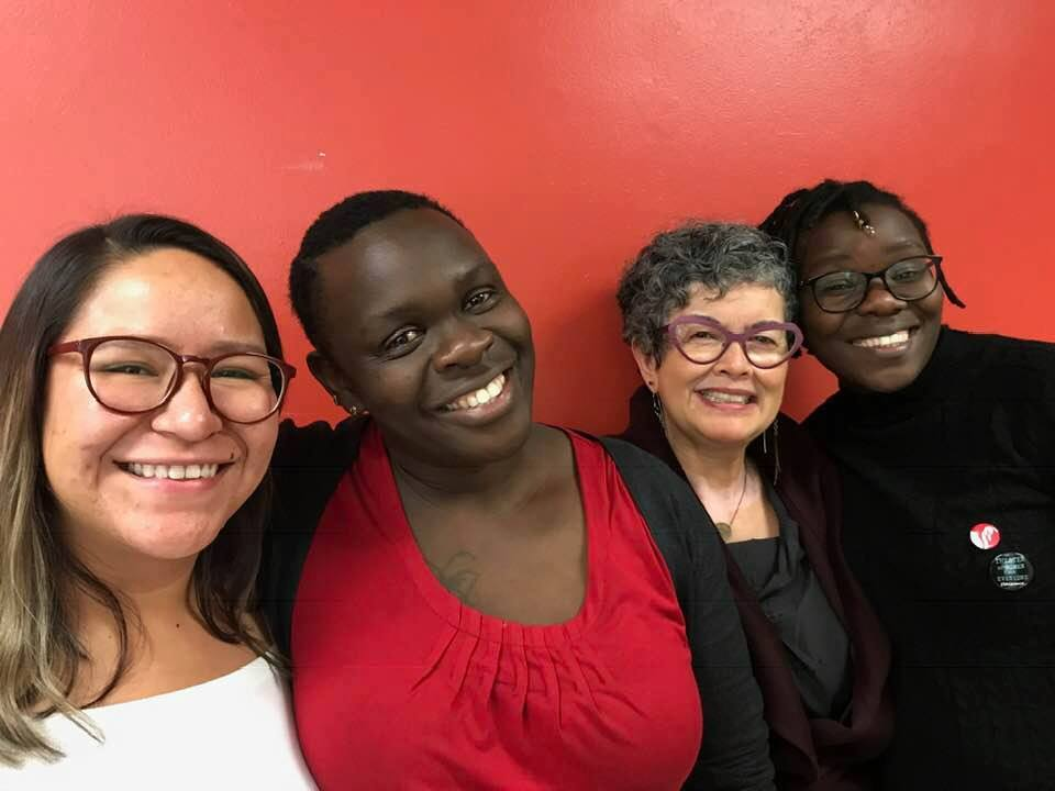Sophie and Lydiah Dola (far right) with Yasmin Ruvalcaba Saludado and Jane Vogel of Advance Gender Equity in the Arts.