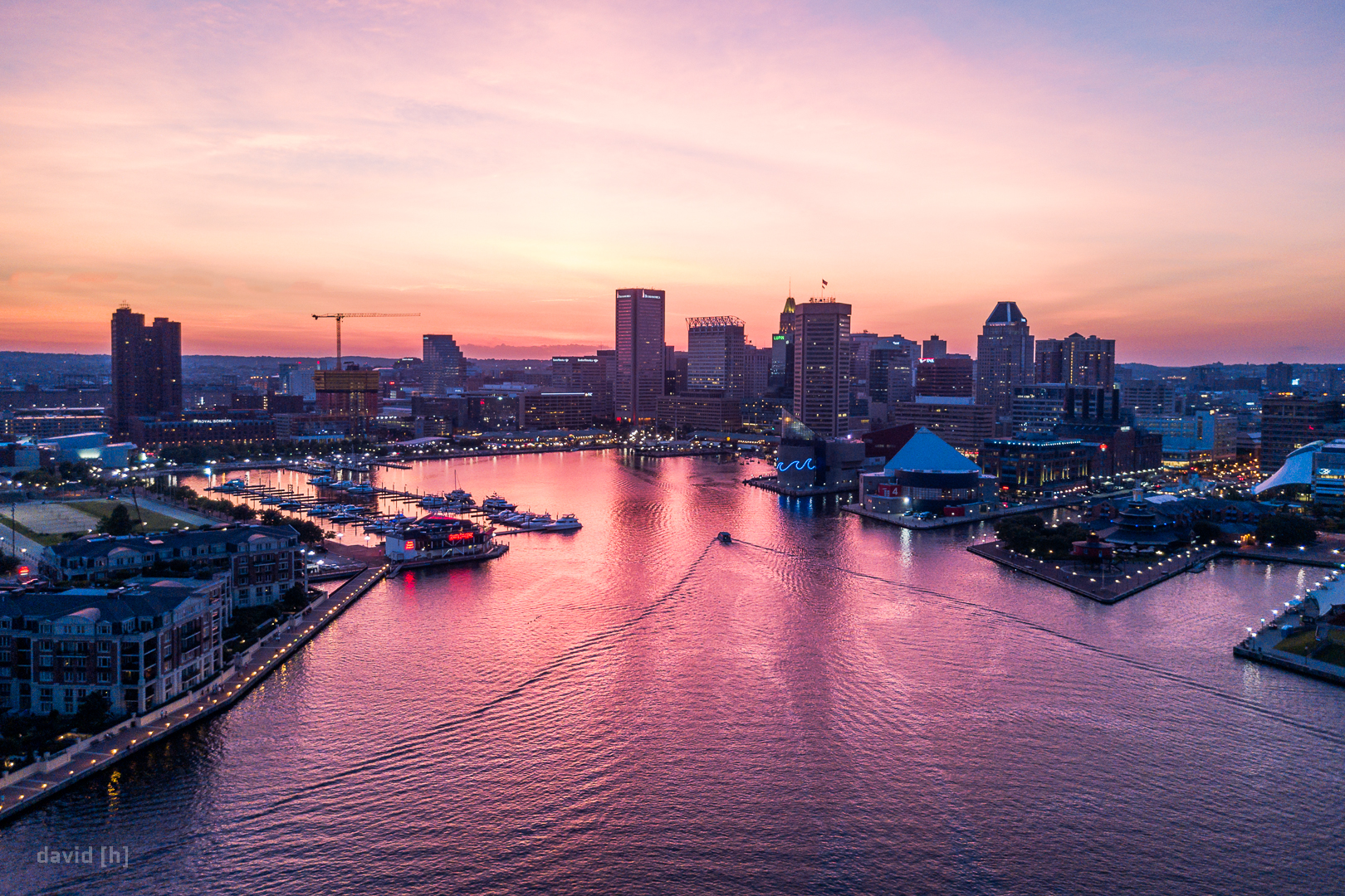 A boat returning during the incredible post-sunset show the sky was putting on over Baltimore.