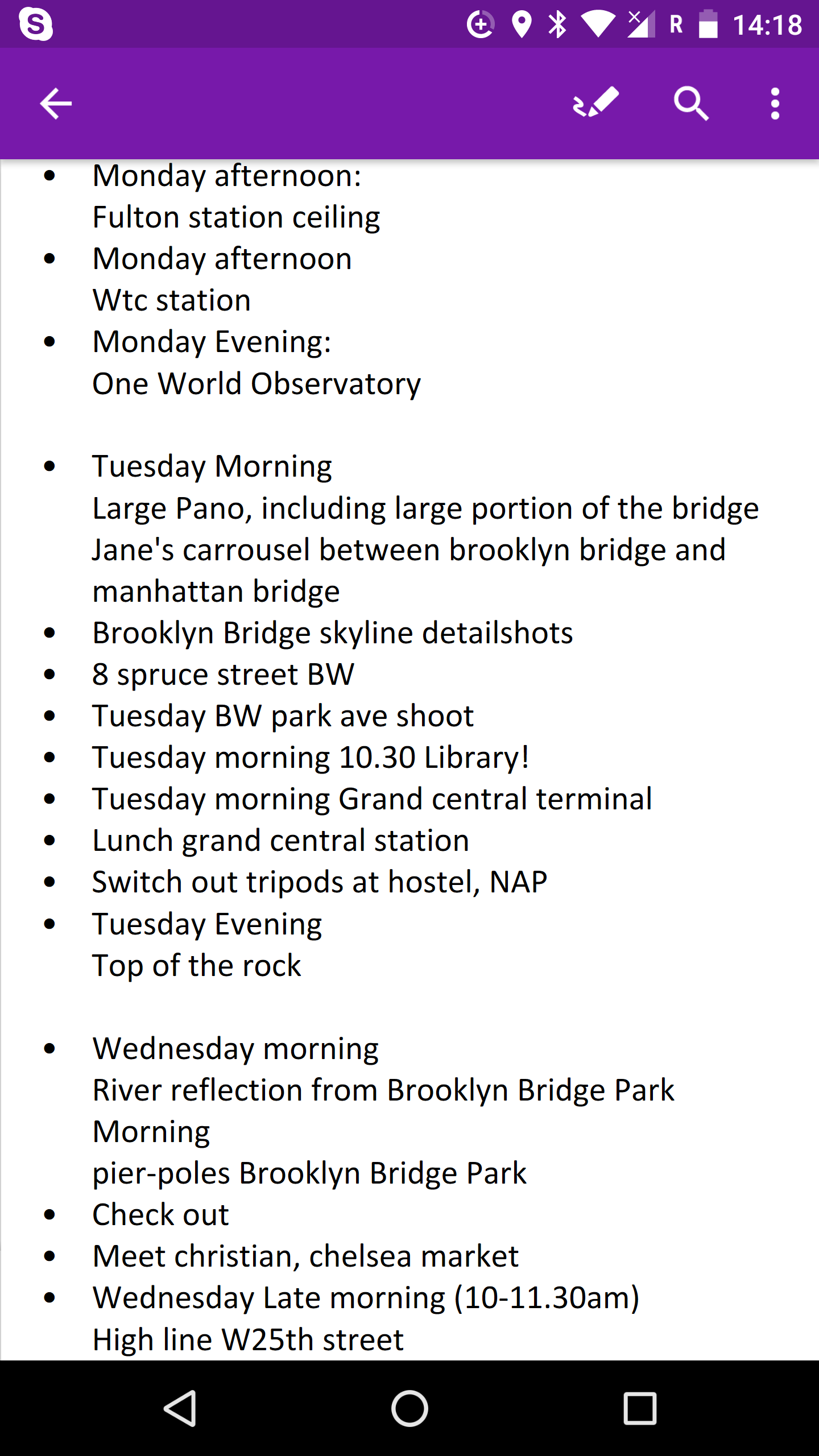 My shot-list for a total of 48 hours in New York.