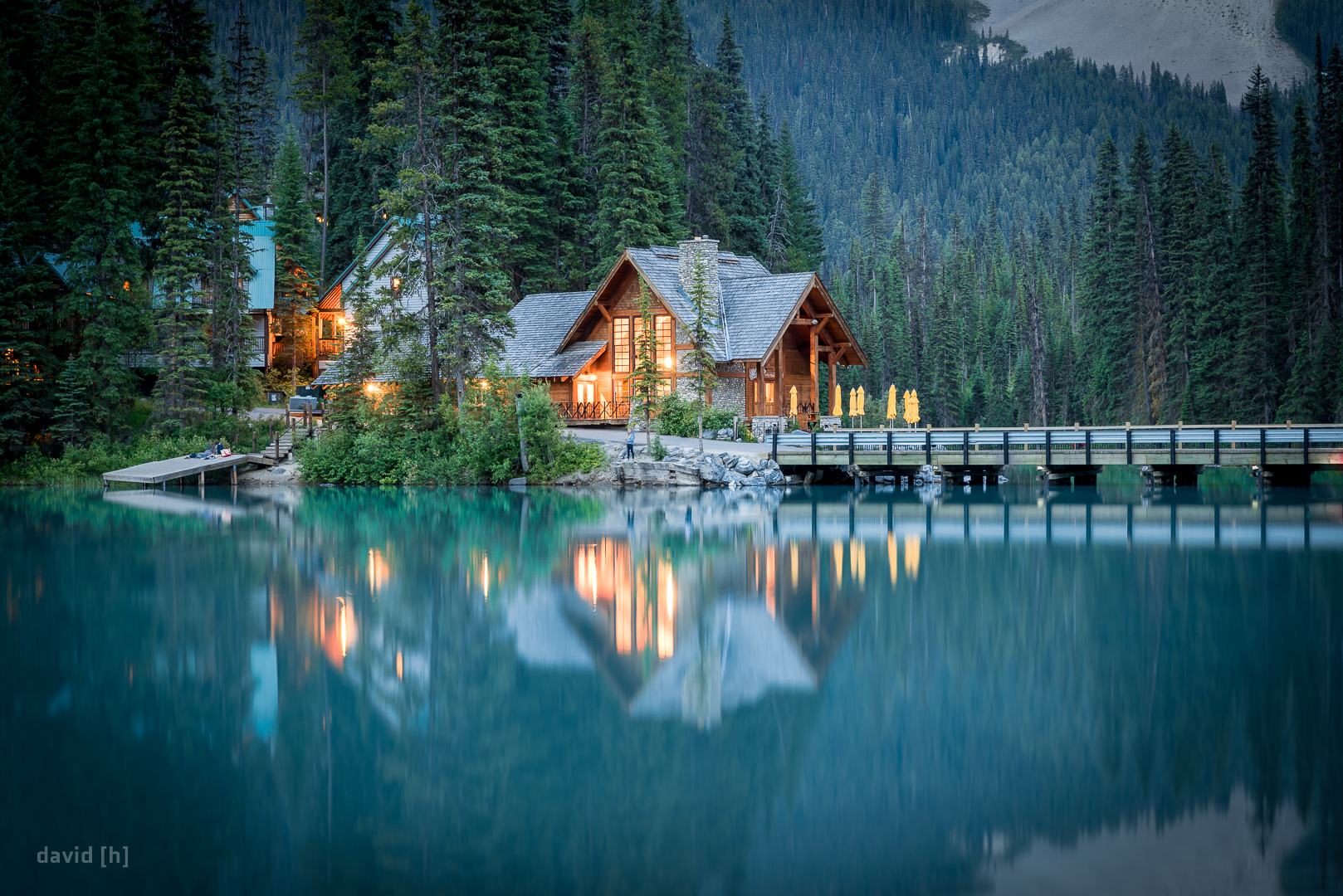 The Emerald Lake Lodge in Yoho National Park, British Columbia, Canada, just after sunset.