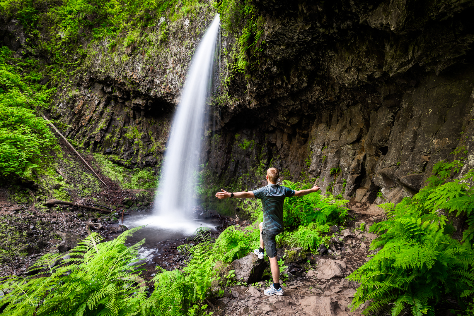Upper Latourell Falls in the Columbia River Gorge - just couldn't resist posing in this green oasis!