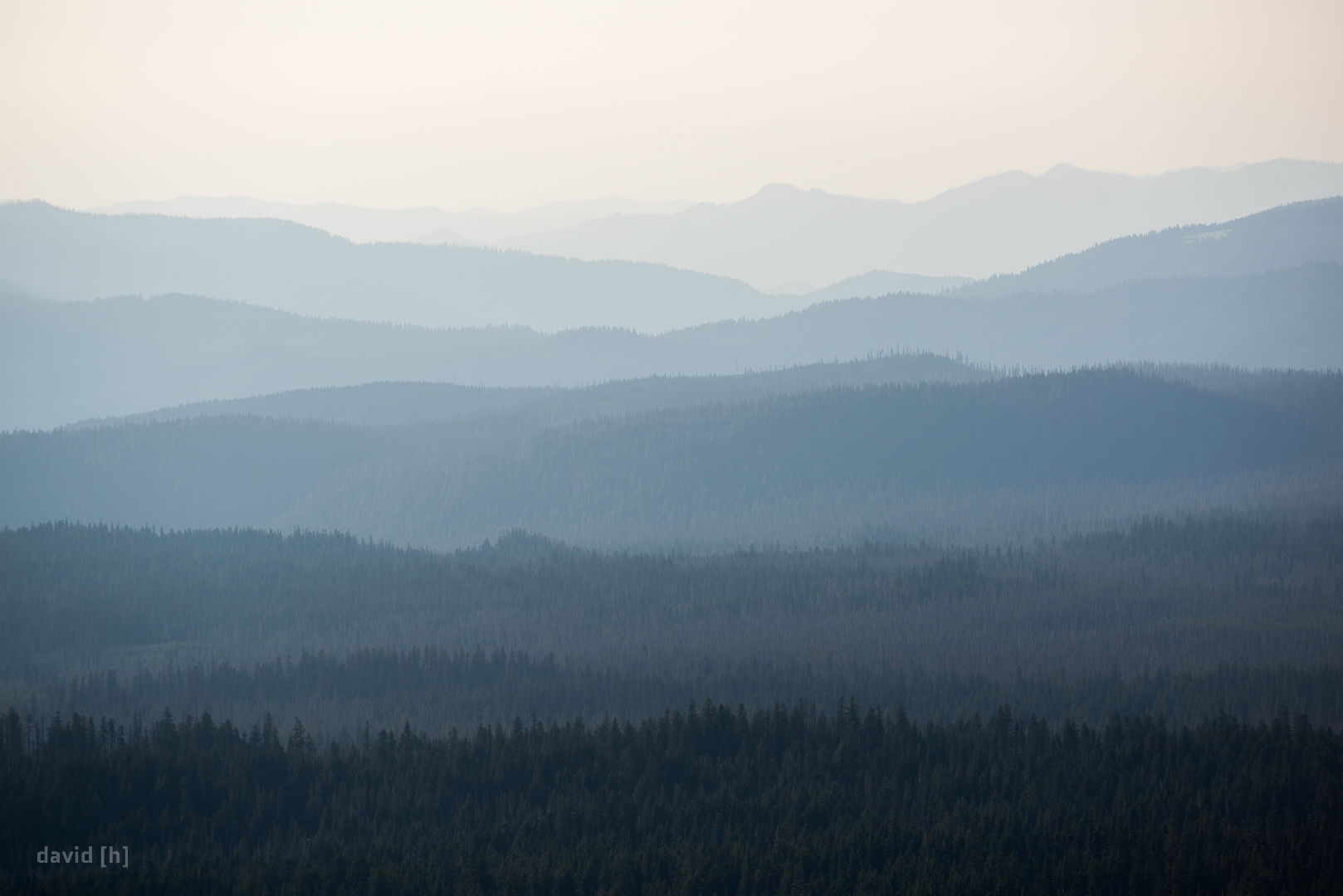 Haze in the late afternoon can create magical views over a series of hills and ridges, creating finely separated layers.
