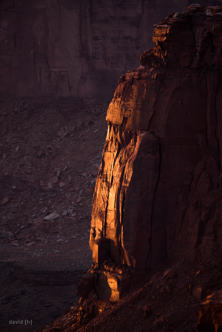Where there is light, there is dark - the last rays of sun kissing the cliff face in the canyon.