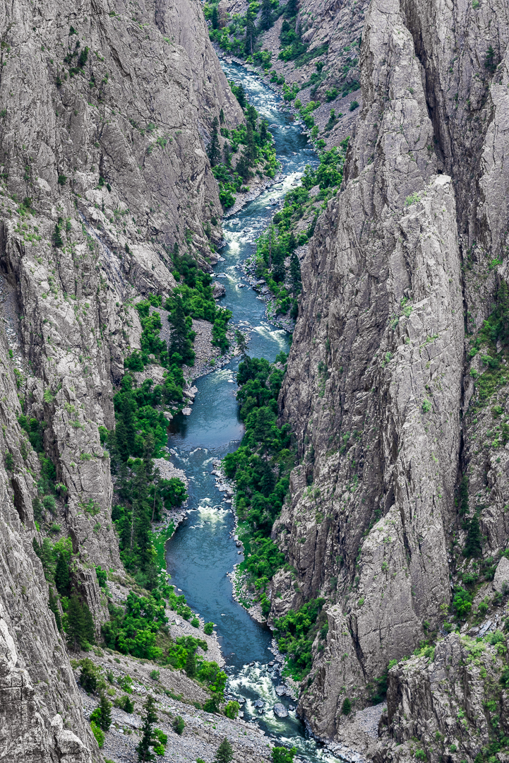 The Gunnison River relentlessly carves its way through the Black Canyon.