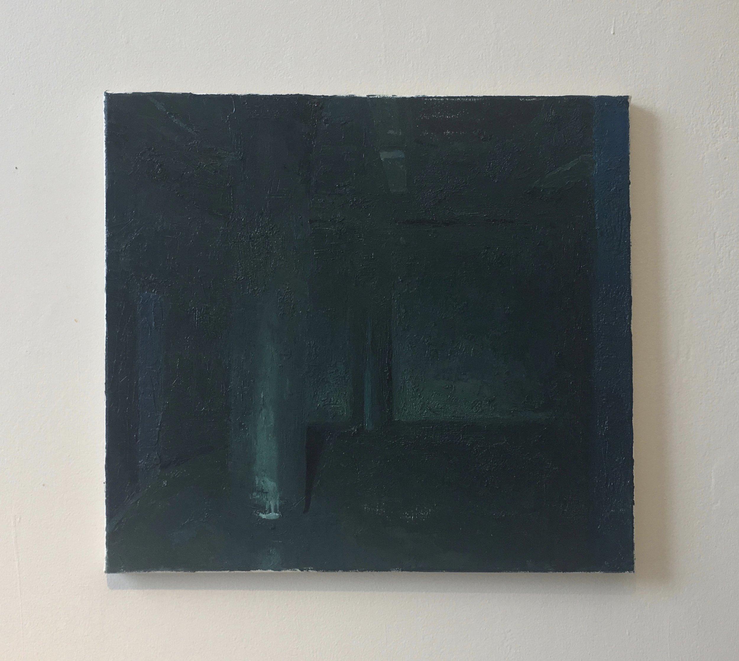 "Block Box Theater, Boston University  - oil on canvas, 18"" x 20"", 2018"