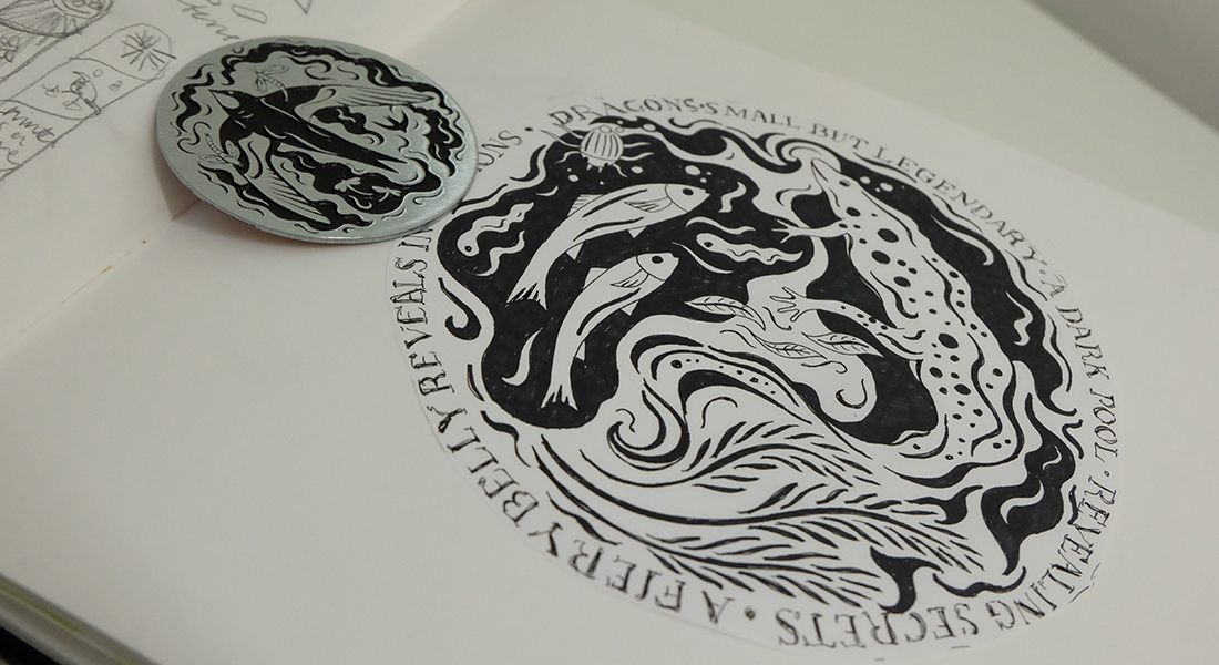 Tactile disc with ideas sketched before manufacture in zinc etched steel.
