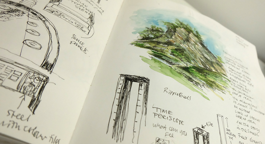 Poetry and sketched ideas for interpretation at Wren's Nest in Dudley.