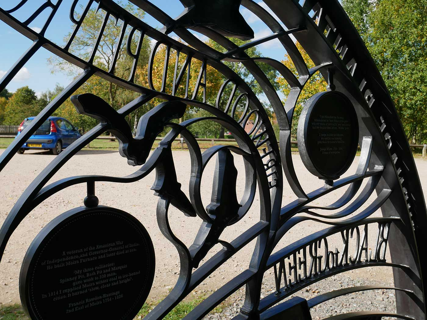Ornate steel structure containing the interpretive stories.