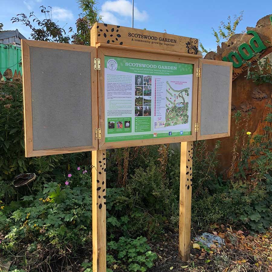 Scotswood Interpretation Panel with integrated noticeboard.