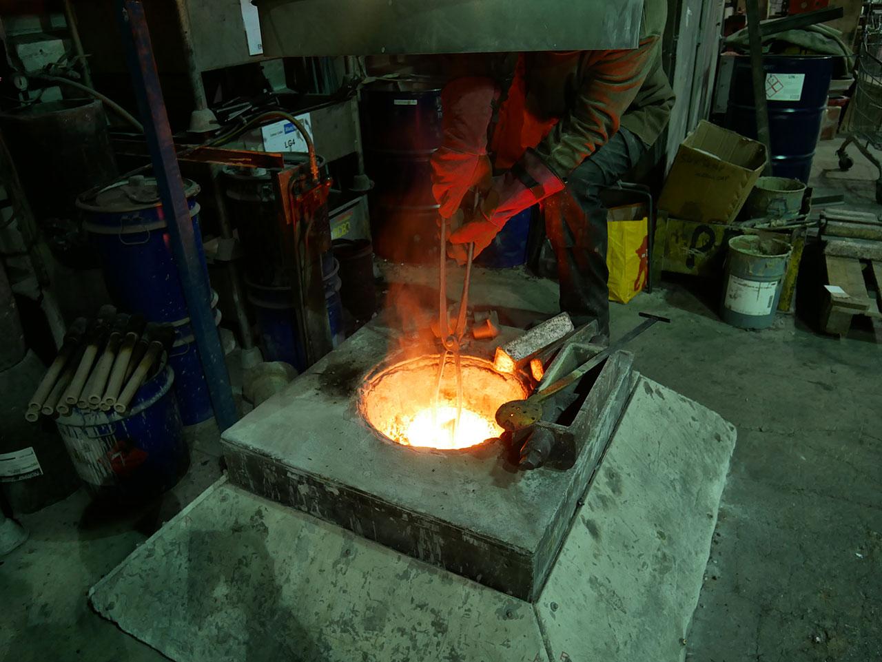 Fife Pilgrim Way bronze floor discs being cast in the foundry