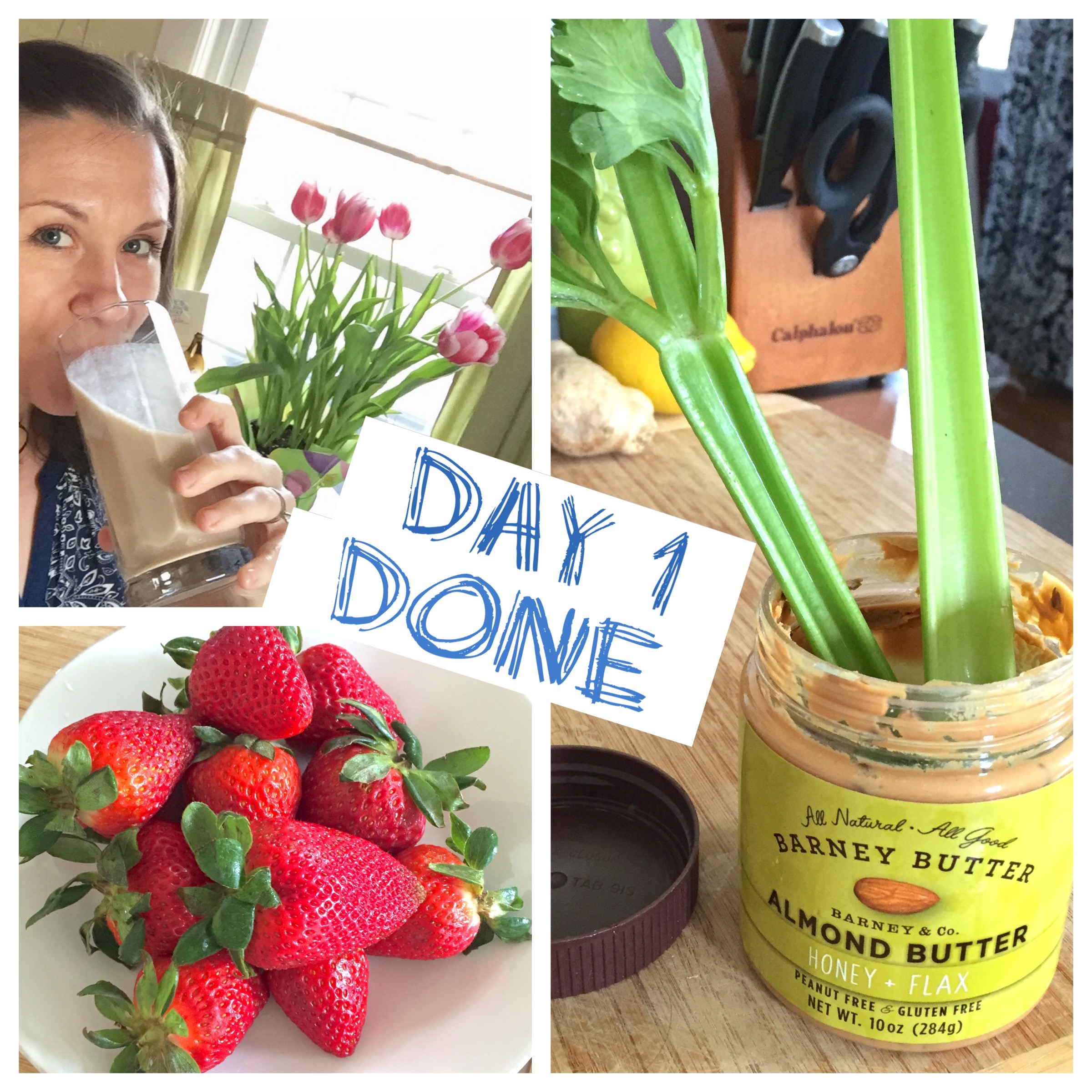 I ate SO MANY strawberries on Day 1. And almond butter. A fav!
