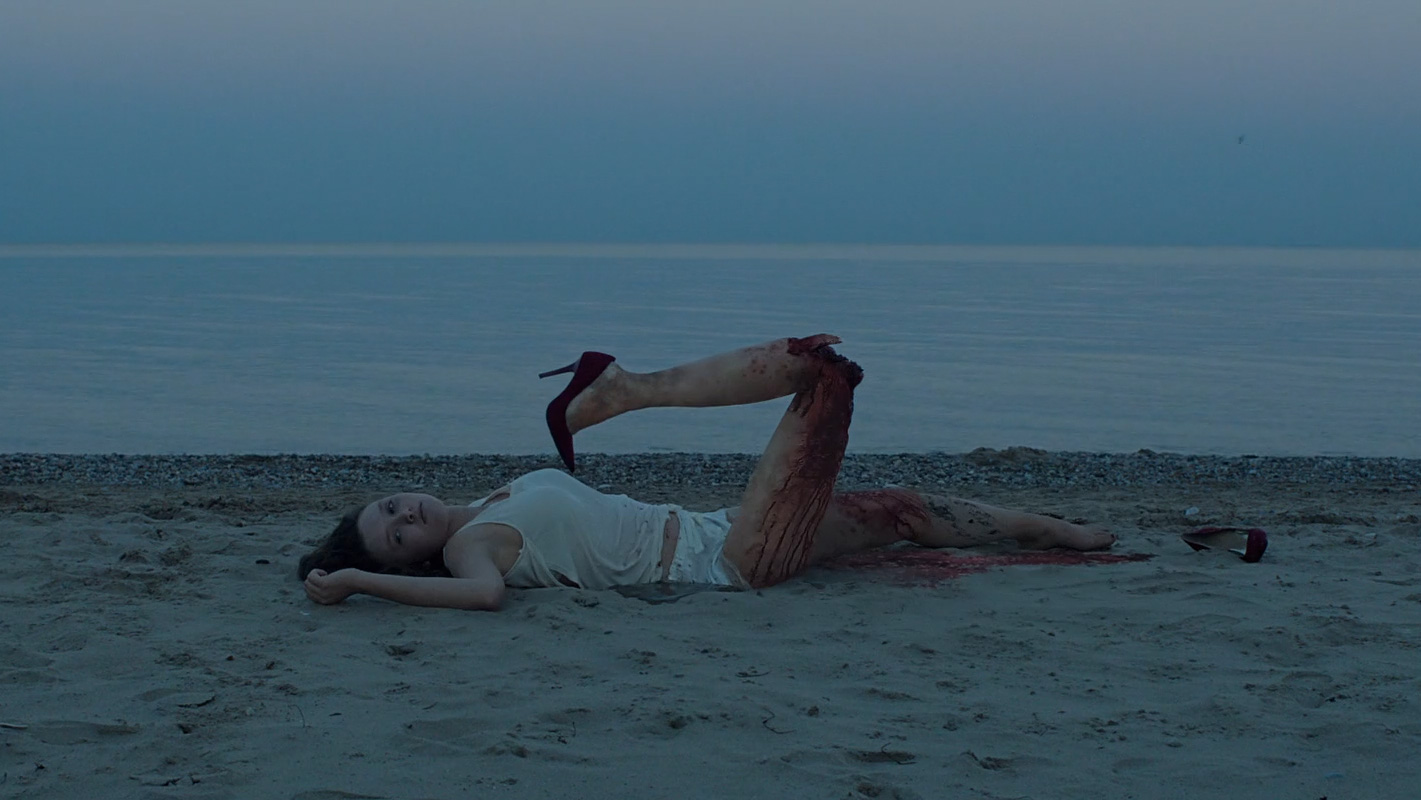 An empty beach with a corpse on it.