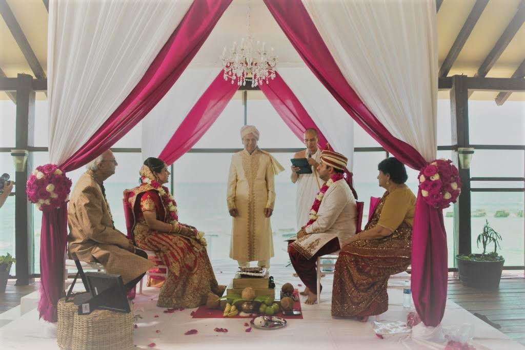 Indian ceremony by pier Mandap red and white.jpg