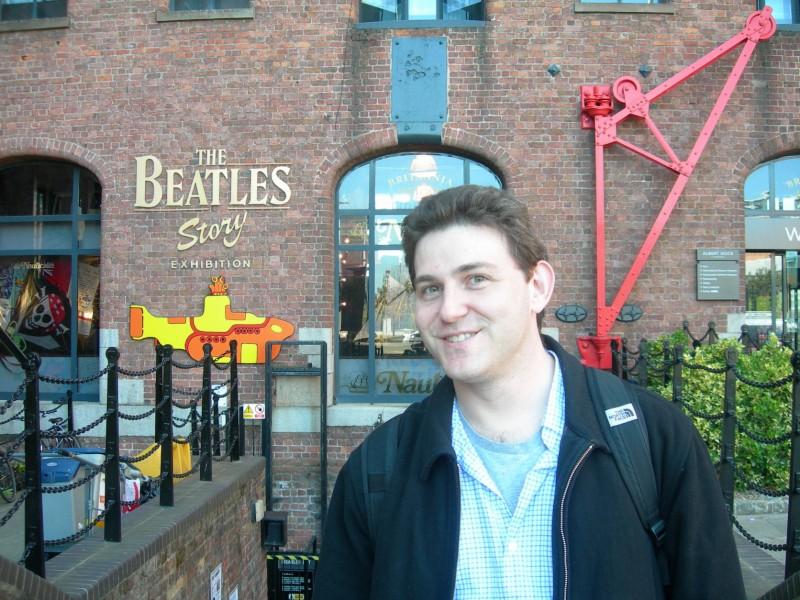 Mr. Green, a lifelong Beatles fan, visiting The Beatles Story.