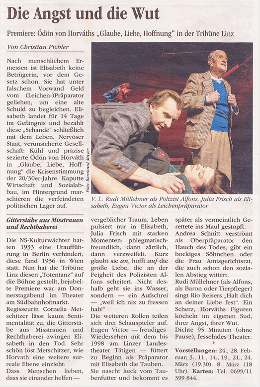 Volksblatt über Glaube Liebe Hoffnun g