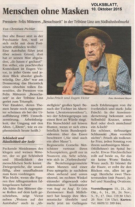 Volksblatt über Besuchszeit