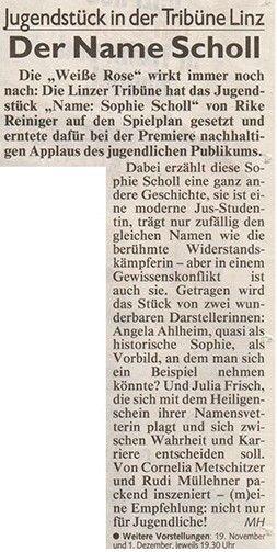 Kronen Zeitung über Name: Sophie Scholl