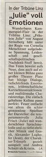 Kronen Zeitung über Fräulein Julie
