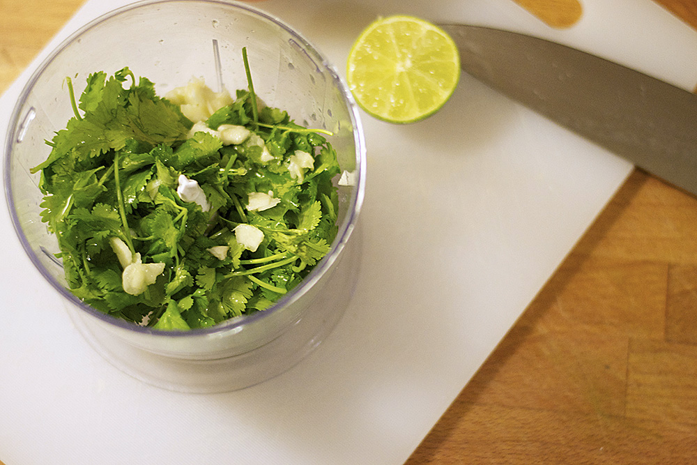 All the ingredients for the Chimichurri in the blender