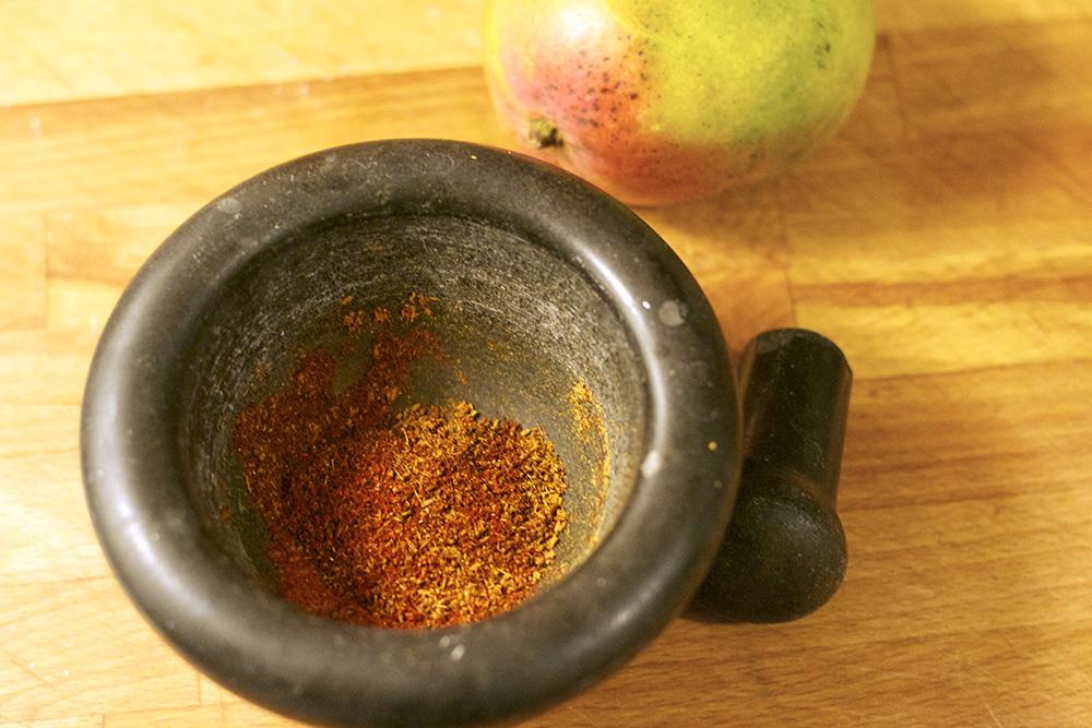 Spice rub for the Chicken. Cumin, Chipotle, Chilli and Salt