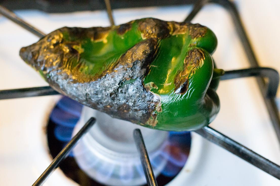Fire roasting the Poblano pepper