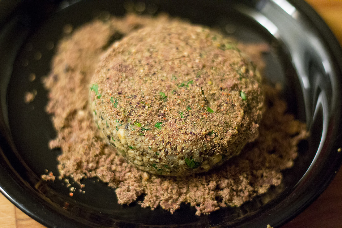 the burgers coated with chip crumbs