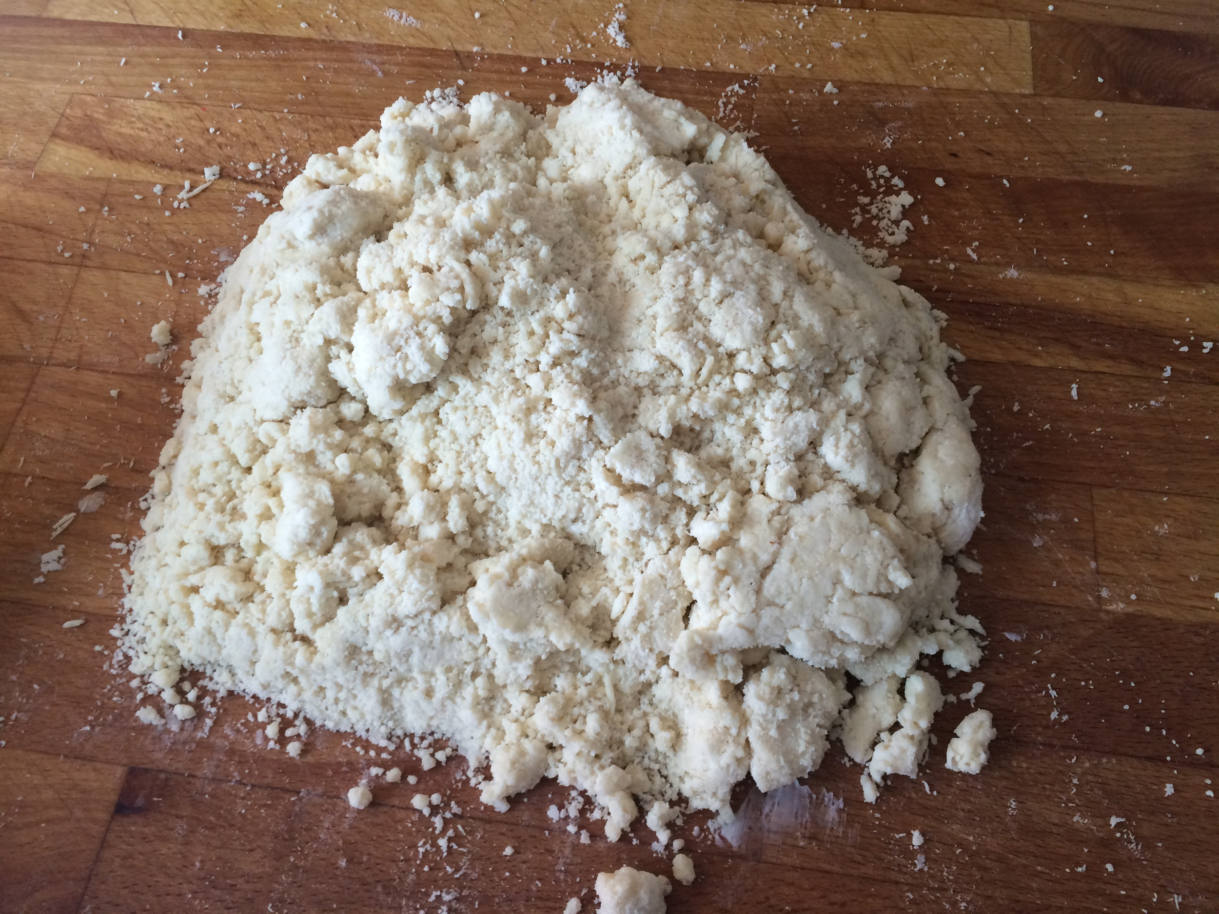 "Pie ""dough"" isn't a dough yet. Use you hands to pack it all together and place in fridge."