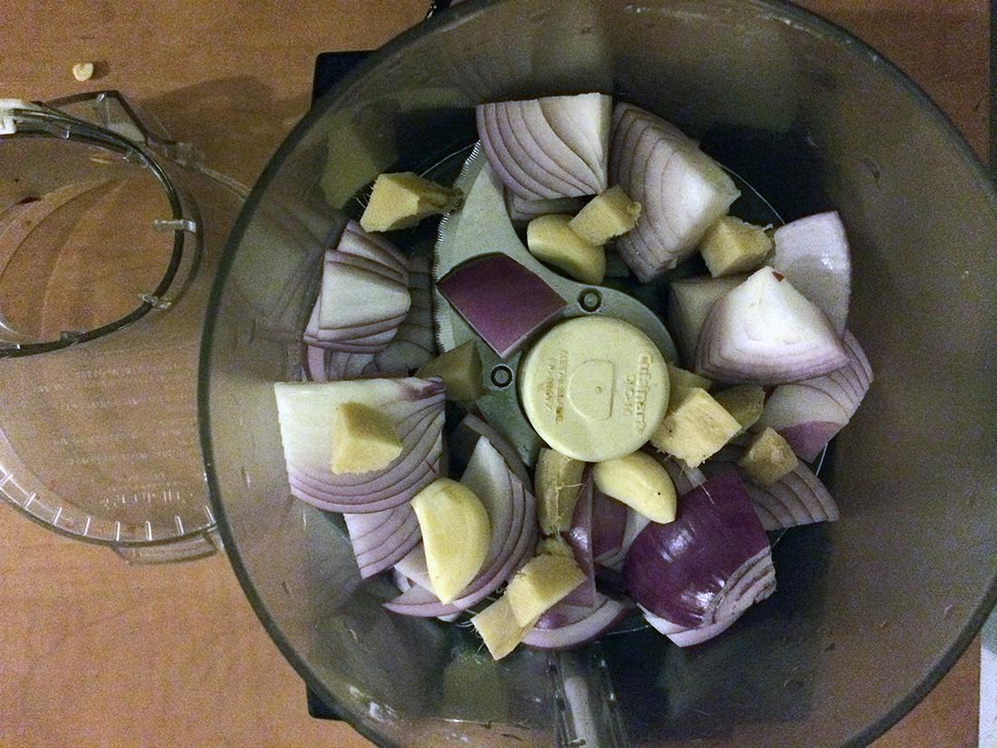 Onions, ginger, garlic