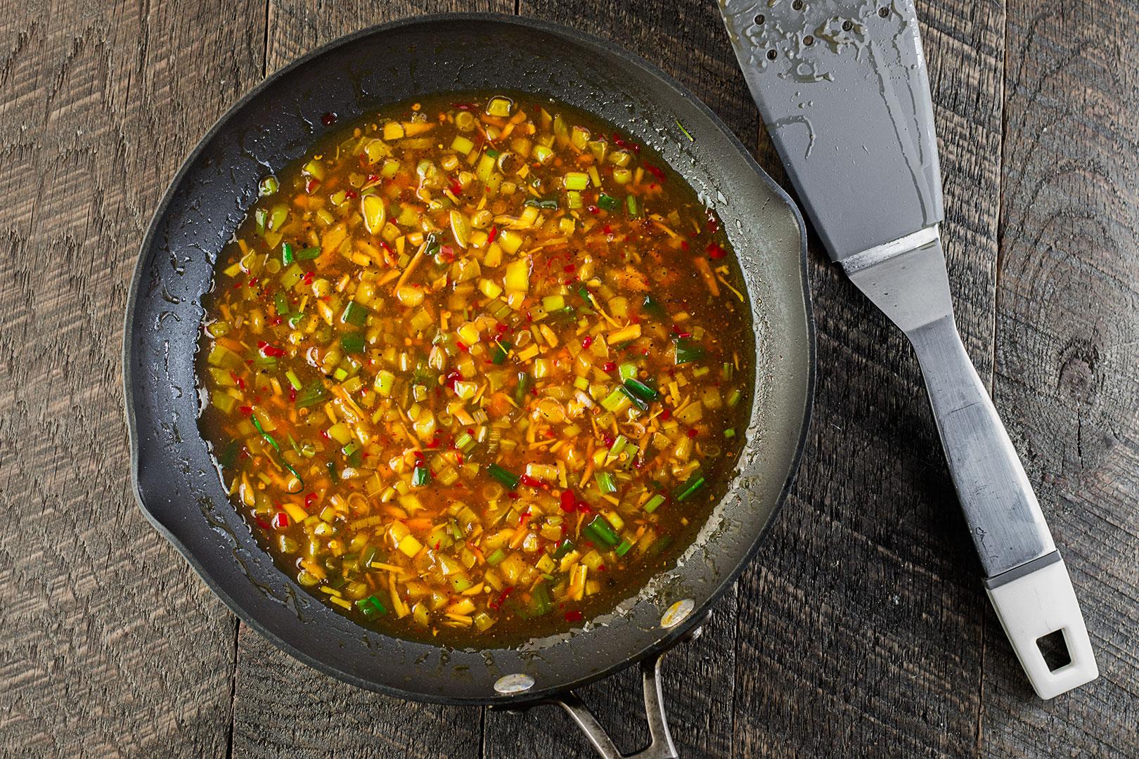 The sweet chili sauce