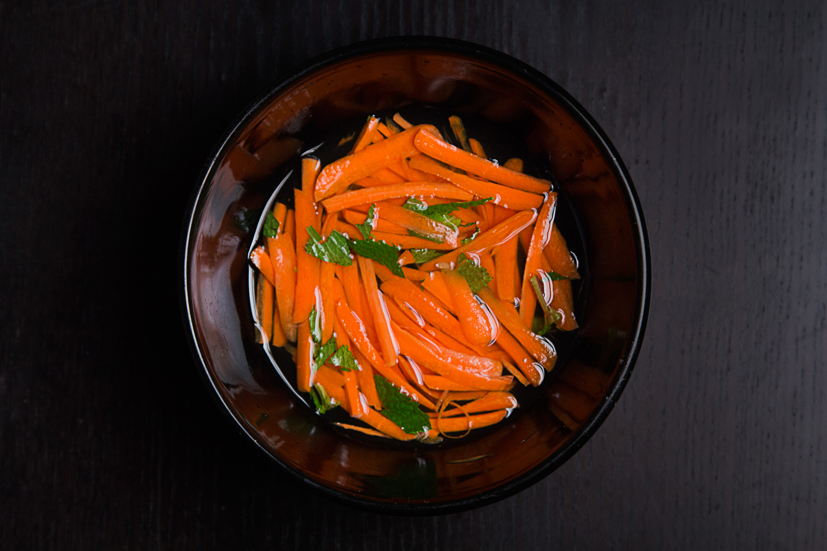Pickled thin sliced carrots with fresh mint