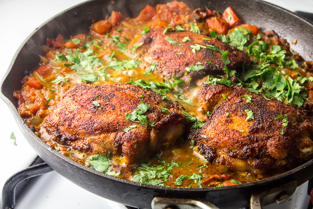 Roast Chicken Stew with spiced tomato ginger sauce
