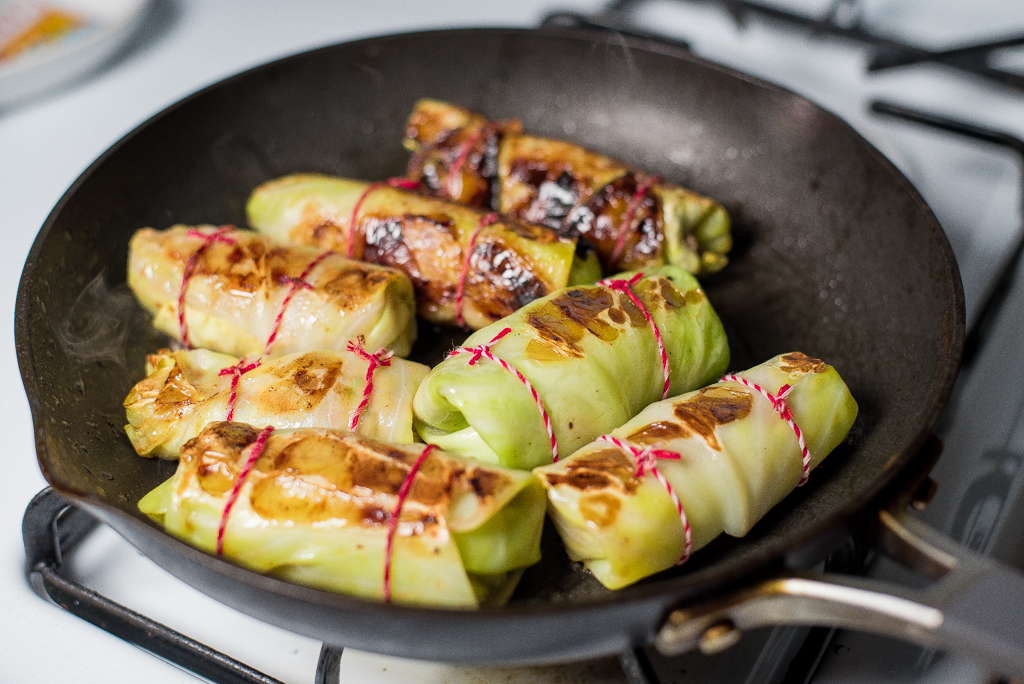 Pan Fried Stuffed Cabbage Rolls with Spiced lamb
