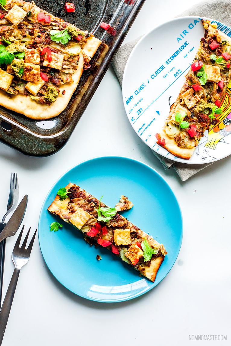 Open faced potato naan flatnbread with cilantro chutney