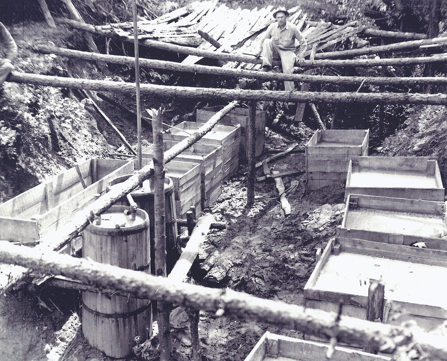 Large underground moonshine still operation.  Located in Call section Wilkes County.  Circa 1950